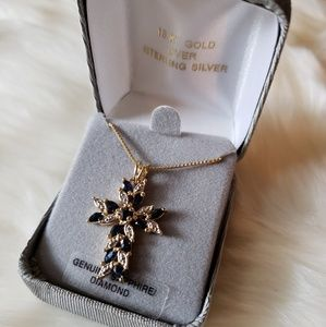 Jewelry - 18kt Gold Over Sterling Silver Cross Necklace